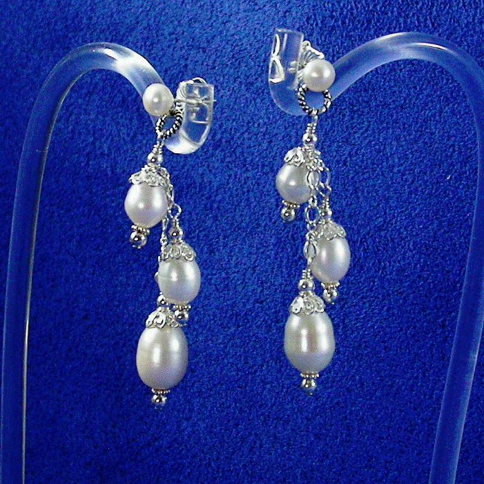 Jewelry, Bridesmaids, Bridesmaids Dresses, Fashion, white, ivory, silver, Bride, Earring, Pearl, Freshwater, Sterling, Dangle, Damselfly studio