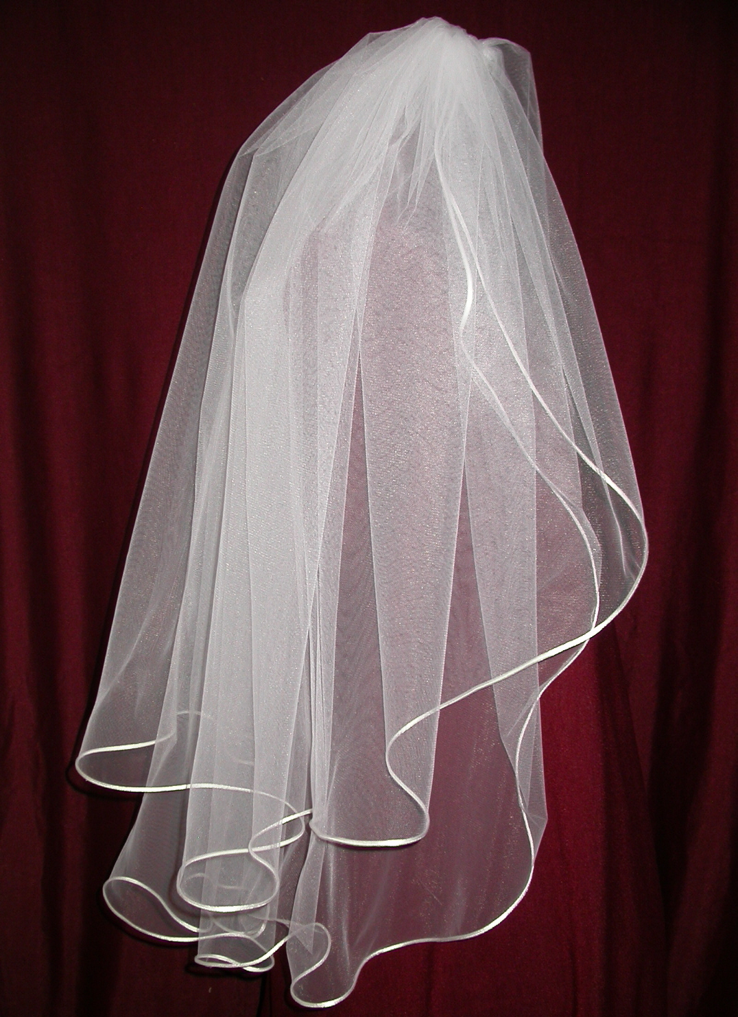 Veils, Fashion, white, ivory, Bride, Veil, Custom, Satin, Headpiece, Diamond, Cord, Tier, Lengths, Candlelight, Two, Damselfly studio, satin wedding dresses