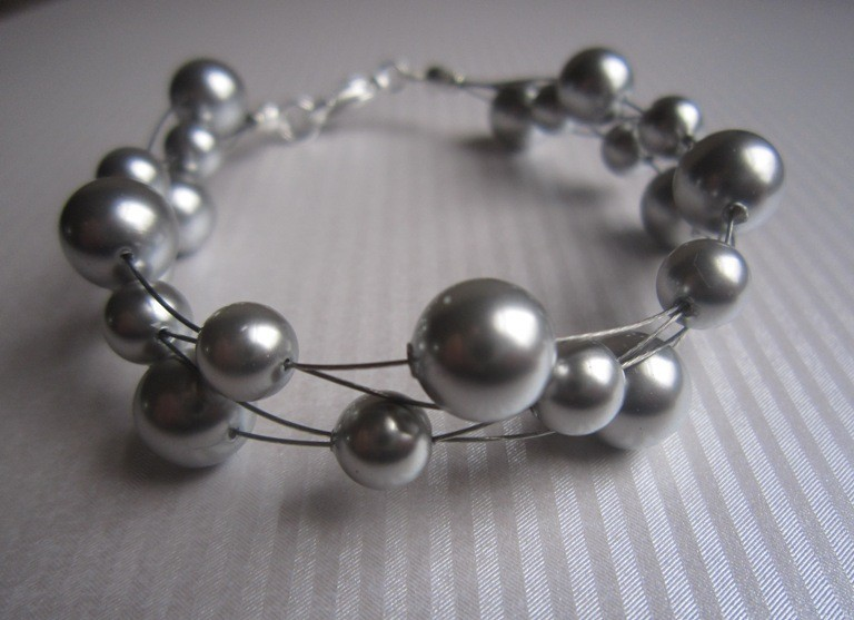 Jewelry, Bridesmaids, Bridesmaids Dresses, Fashion, gray, silver, Bracelets, Wedding, Grey, Bridesmaid, Bridal, Elegant, Bracelet, Swarovski, Floating, Formal, Pearl, Etsy, Wire, Handcrafted, Multi-strand, European bride, Formal Wedding Dresses