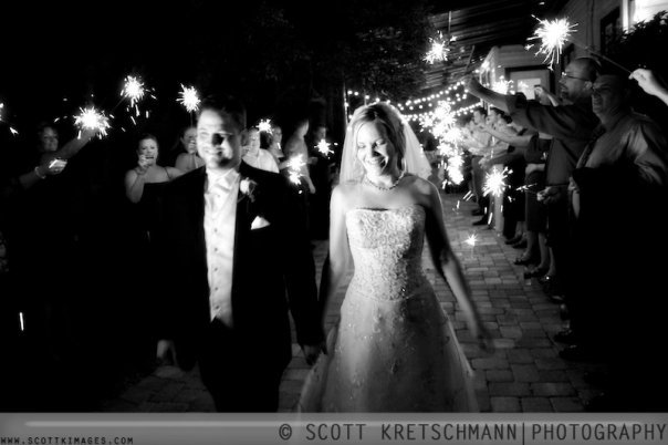 Inspiration, Reception, Flowers & Decor, Wedding Dresses, Fashion, white, black, dress, Bride, Board, Sparklers, Exit, Scott kretschmann photography
