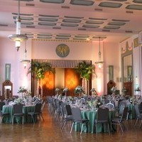 Reception, Flowers & Decor, white, green, silver, Civic center music hall - meinders hall of mirrors