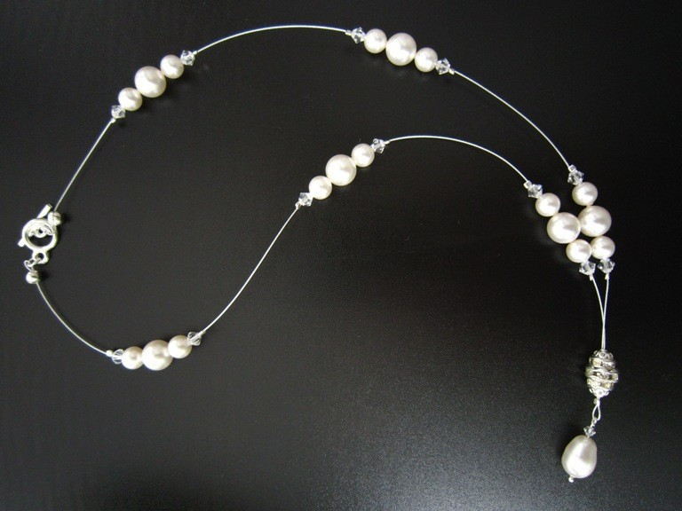 Jewelry, Bridesmaids, Bridesmaids Dresses, Fashion, white, silver, Necklaces, Wedding, Bridesmaid, Bridal, Elegant, Crystal, Necklace, Swarovski, Floating, Drop, Rhinestone, Pearl, European bride, Y drop