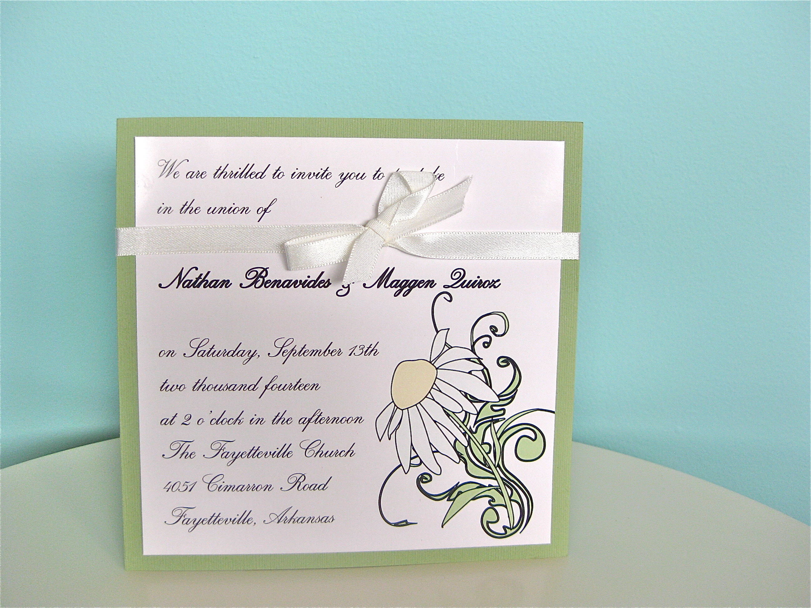 Stationery, green, invitation, Invitations, Custom, Ribbon, Jillybean design
