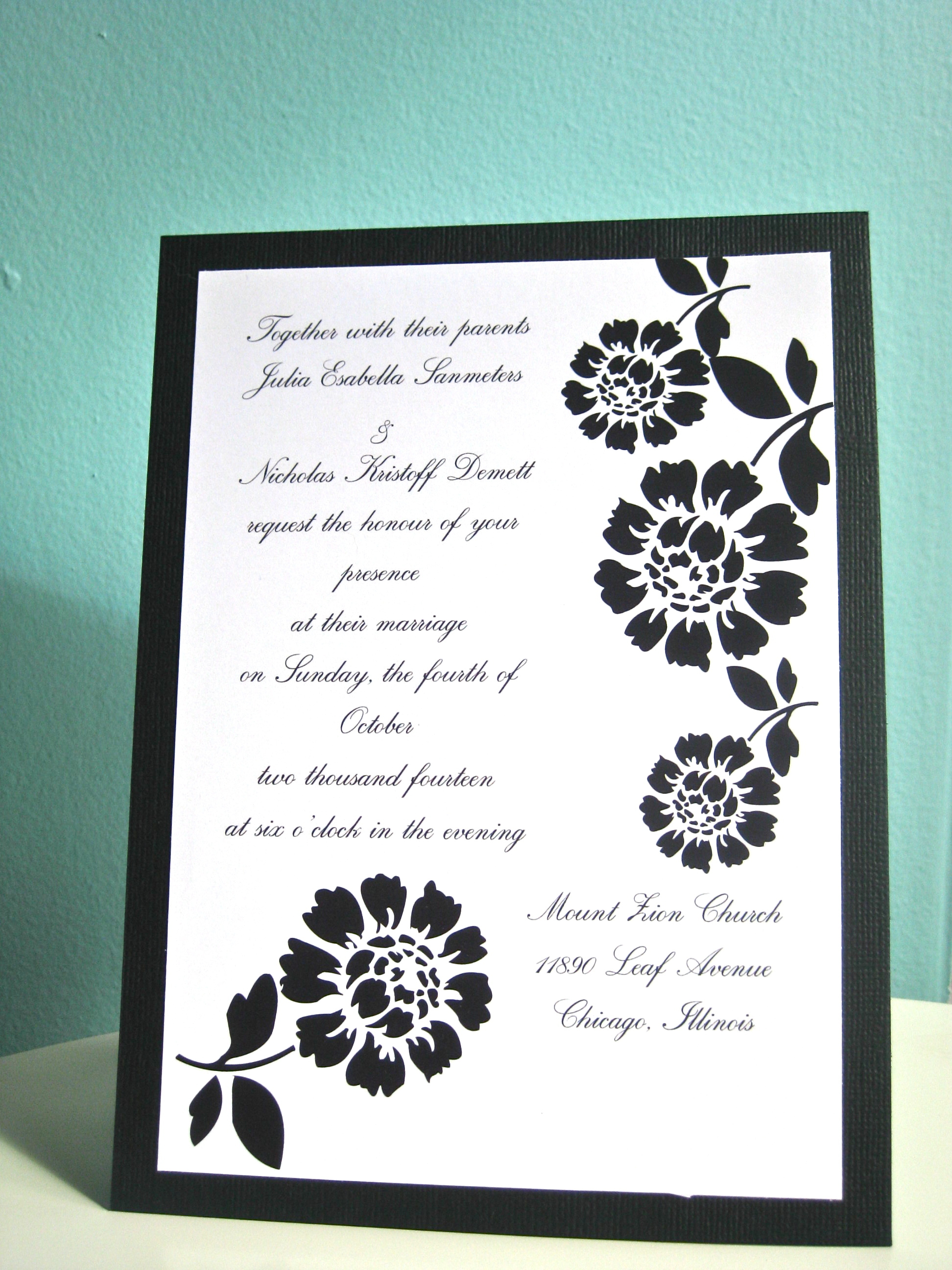 Stationery, black, invitation, Invitations, Wedding, Custom, Graphic, Jillybean design