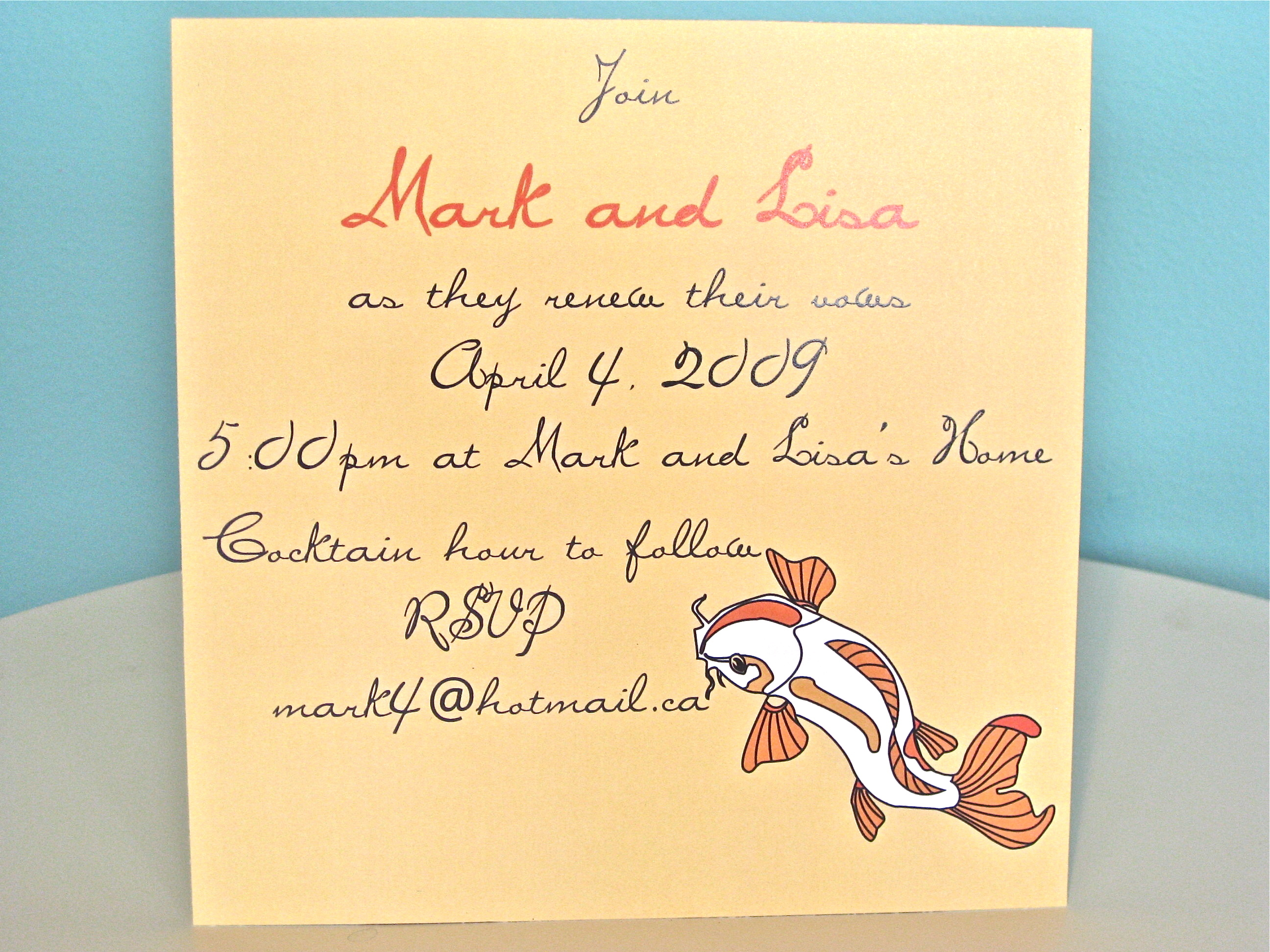 Stationery, white, yellow, orange, gold, invitation, Invitations, Wedding, Custom, Fish, Design, Koi, Graphic, Jillybean design