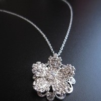 Flowers & Decor, Jewelry, silver, Necklaces, Flower, Wedding, Bridal, Necklace, Swarovski, Rhinestone, Pendant, Chain, European bride - wedding special occasion jewelry