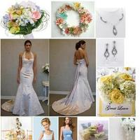 Inspiration, Reception, Flowers & Decor, Jewelry, Bridesmaids, Bridesmaids Dresses, Wedding Dresses, Shoes, Cakes, Fashion, white, yellow, blue, green, silver, cake, dress, Bridesmaid Bouquets, Flowers, Board, Flower Wedding Dresses