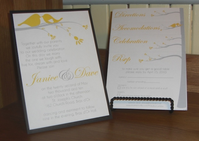 Stationery, yellow, gray, invitation, Invitations, Birds, Bird, Tree, Invite, Double trouble designs-custom monograms and more, Invitation suite