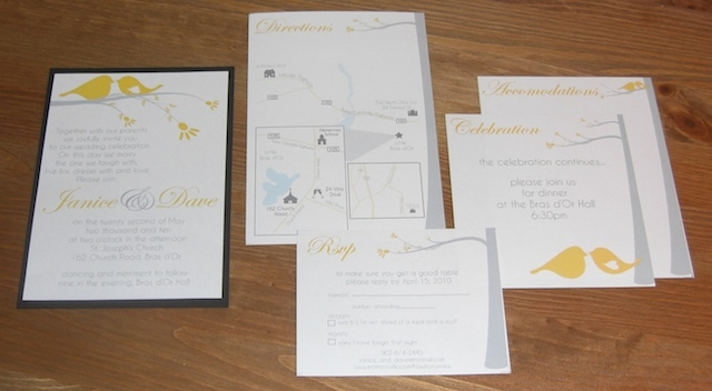 Stationery, yellow, invitation, Invitations, Grey, Birds, Bird, Double trouble designs-custom monograms and more, Invitation suite, Treeinvite, Custom invitation suite, Custom invitaiton design