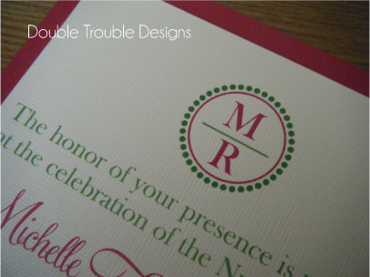 Stationery, pink, invitation, Invitations, Monogram, Card, Stock, Double trouble designs-custom monograms and more, Backing