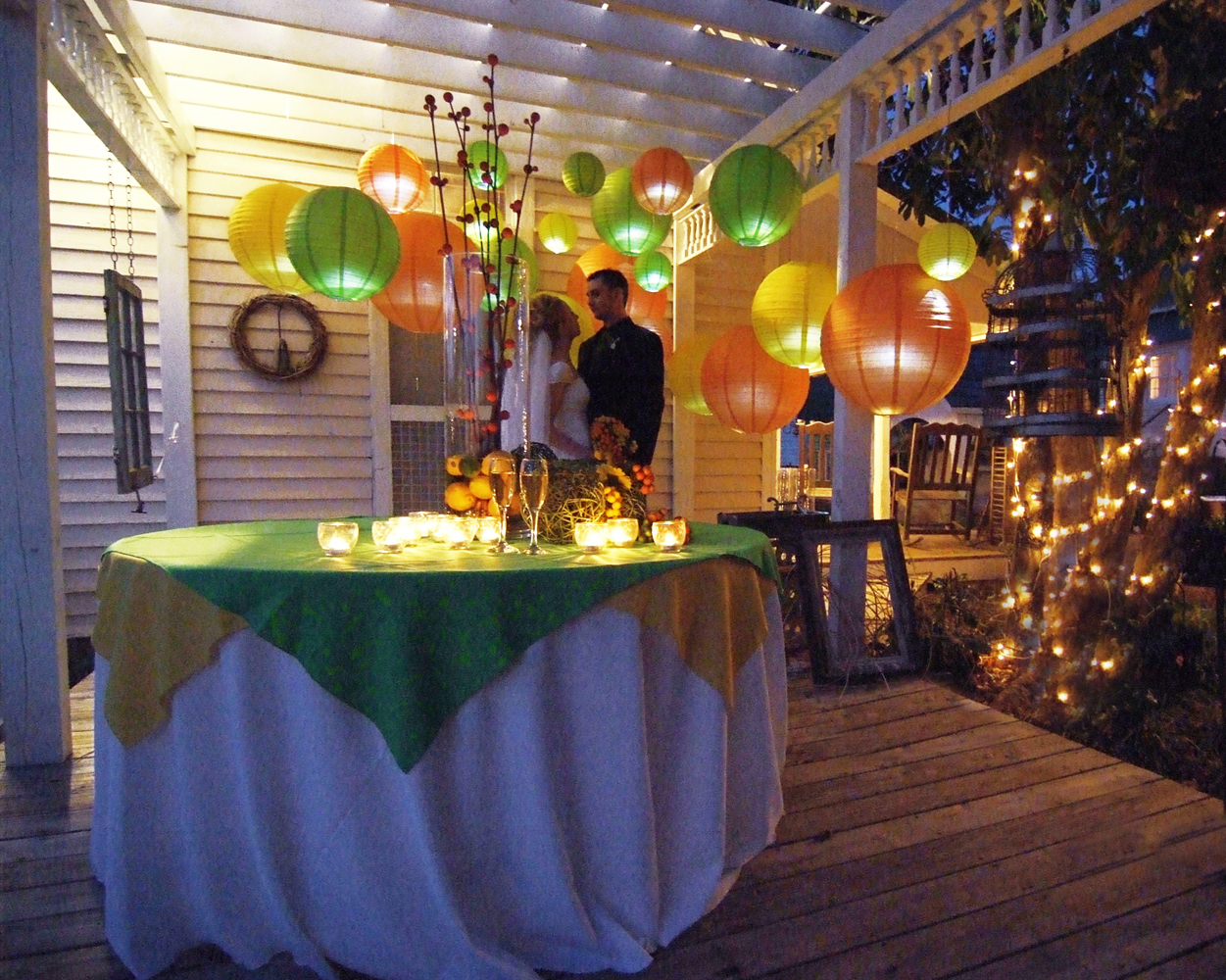 Reception, Flowers & Decor, Paper, orange, Lime, Lanterns, Courtyard, Lemon, Washington, Inn, Paper lanterns, Washington grass inn