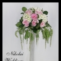 Reception, Flowers & Decor, white, pink, green, Centerpieces, Flowers, Roses, Centerpiece, Hydrangea, Light, Nikolai weddings and events