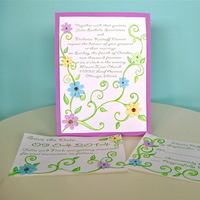 Flowers & Decor, Stationery, green, invitation, Invitations, Flowers, Custom, Hand, Rsvp, The, Save, Date, Made, Gems, Jillybean design
