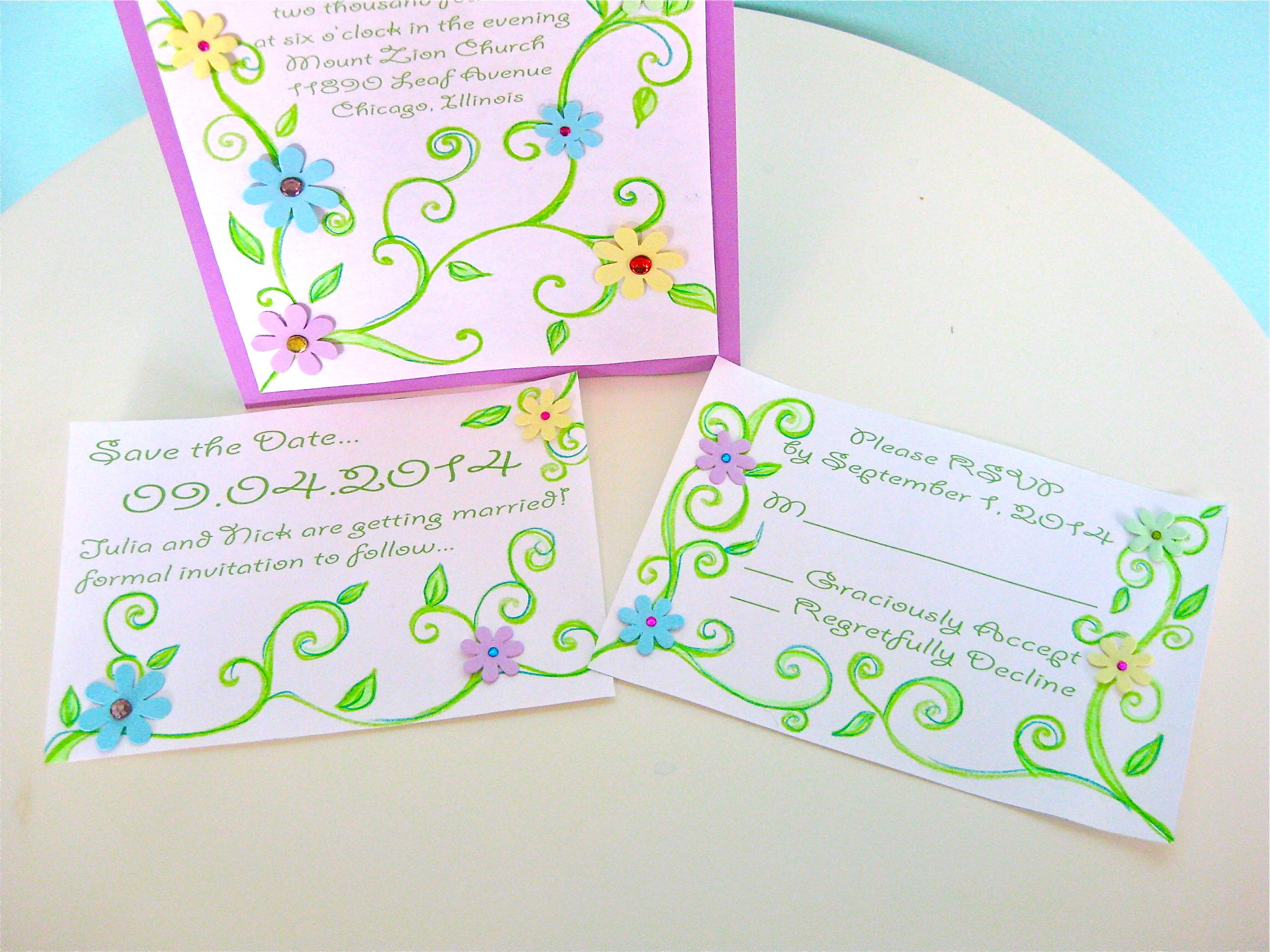 Custom, Hand, Rsvp, The, Save, Date, Made, Jillybean design