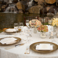 Centerpieces, Outdoor, Table setting, Tablecloth, La maina events, Creme color, Lamaina event