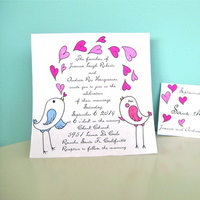 Stationery, pink, purple, blue, invitation, Invitations, Custom, Birds, Hand, Blowing, Made, Hearts, Art, Marker, Kisses, Jillybean design