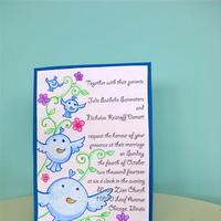 Stationery, blue, Invitations, Custom, Birds, Hand, Art, Drawn, Jillybean design