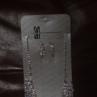 Jewelry, pink, silver, Earrings, Crystal, W, Neclace