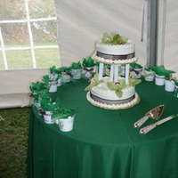 Reception, Flowers & Decor, Cakes, white, green, cake, Sincerely yours baked goods