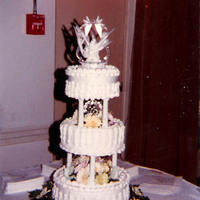 Reception, Flowers & Decor, Cakes, white, yellow, green, gold, cake, Sincerely yours baked goods