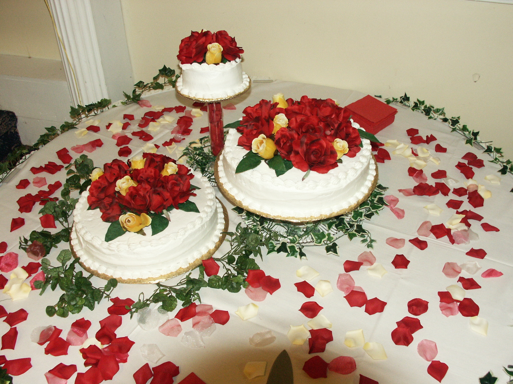 Reception, Flowers & Decor, Cakes, white, yellow, red, gold, cake, Of, Group, Bridal, Perfect, Weddings, A, To, For, Be, Can, Showers, Grooms, Made, Or, Extra, Is, As, Small, This, Large, It, Type, Graduated, Sincerely yours baked goods, Serve, Housewarmings, Height