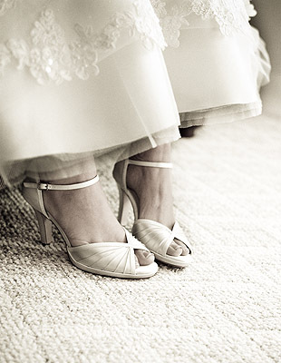 Wedding Dresses, Shoes, Fashion, white, brown, dress, Bride, Portrait, Sepia, Feet, Solas studios - photography by colleen greg