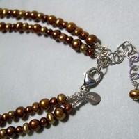Jewelry, Bridesmaids, Bridesmaids Dresses, Fashion, brown, Necklaces, Pearls, Necklace, Sterling, Bliss designs