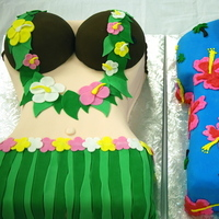 Cakes, Destinations, yellow, pink, red, purple, blue, green, cake, Hawaii, And, His, Luau, Hers, Occasionally cake