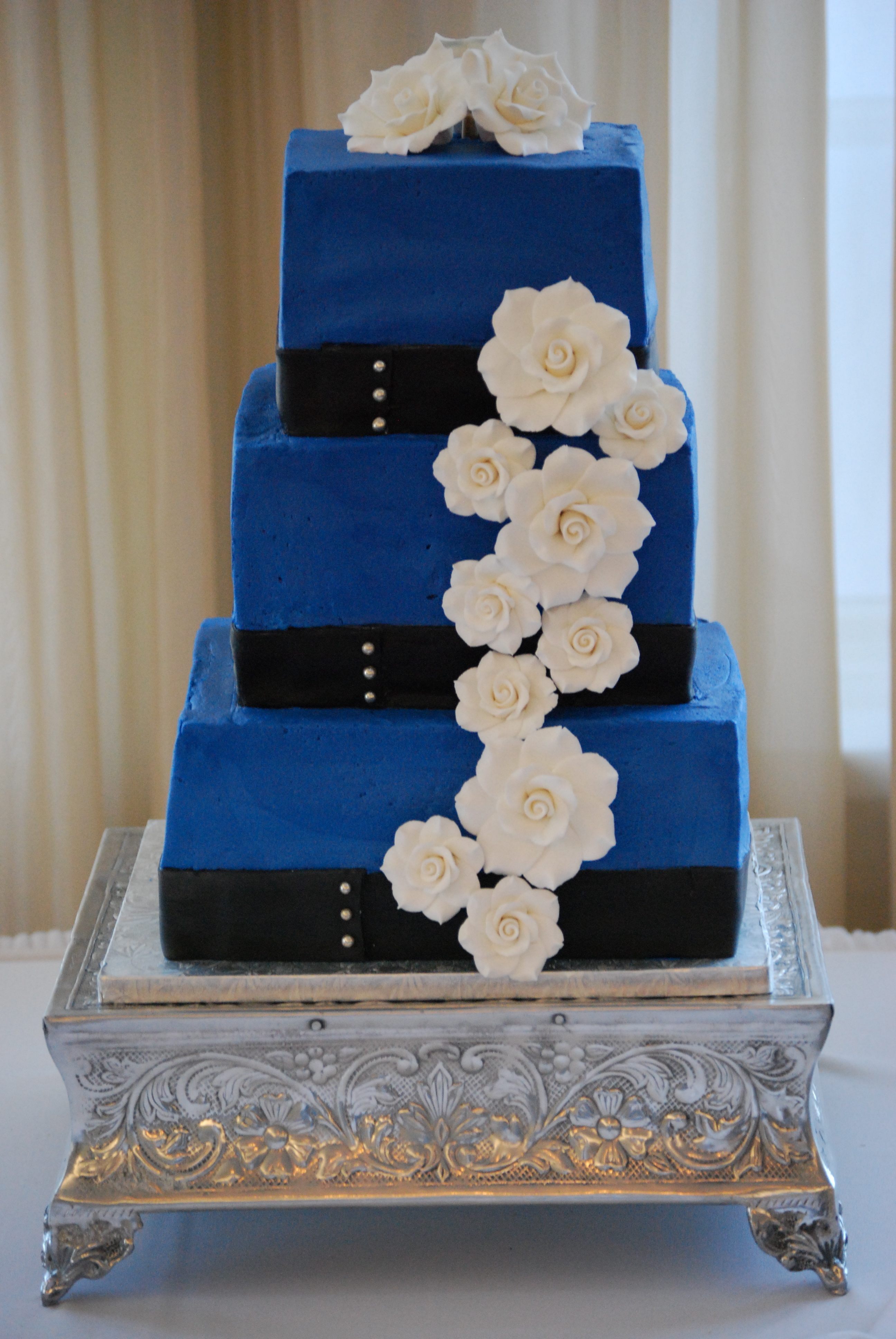 Flowers & Decor, Cakes, white, blue, black, cake, Ribbon Wedding Cakes, Flowers, And, Ribbon, Gardenias, Occasionally cake