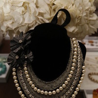 Jewelry, white, blue, silver, Necklaces, Necklace, Embroidered, Bib, Stella dot - independent stylist heather adams