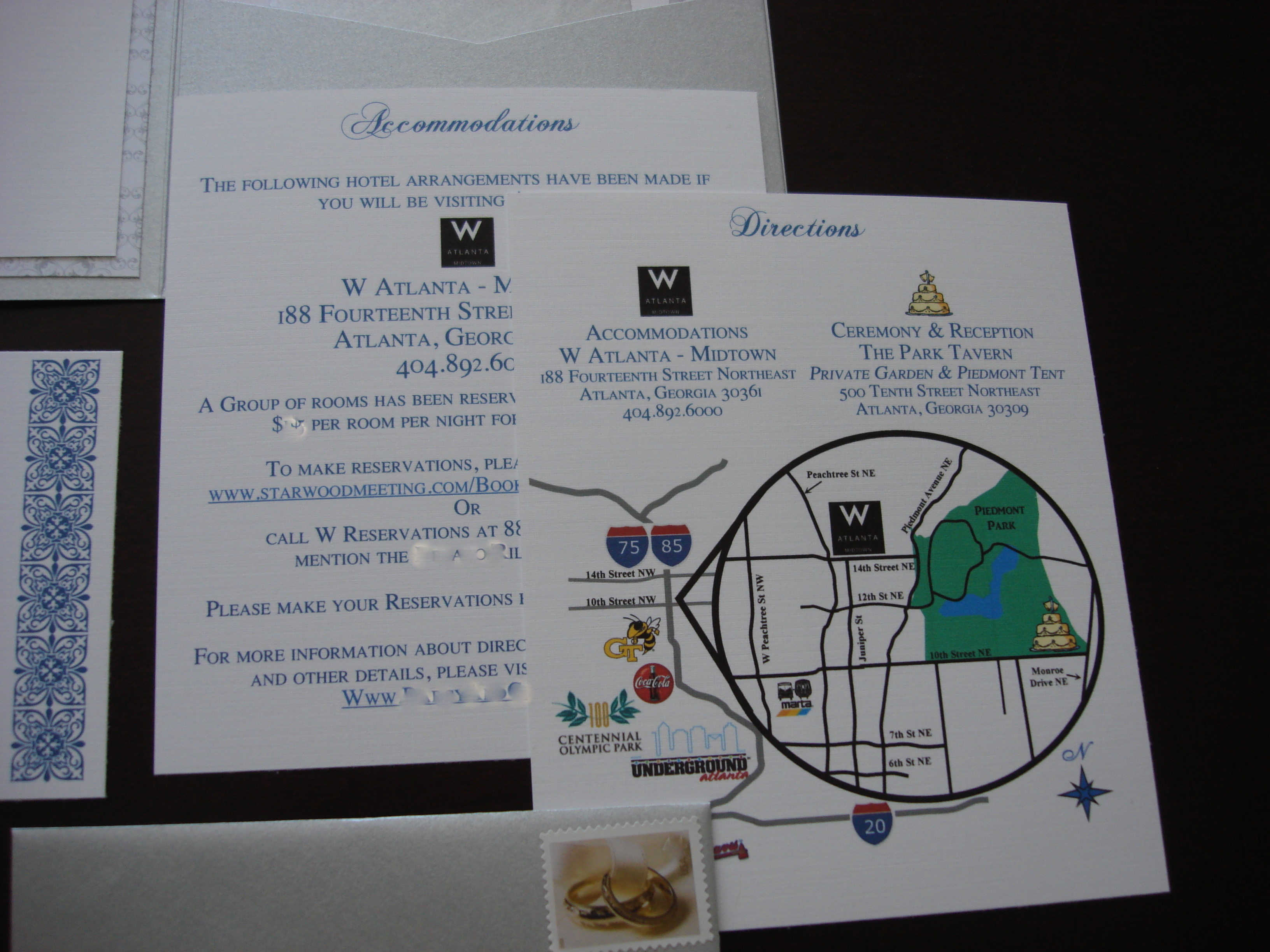 Stationery, white, blue, silver, Invitations, Cards, Accommodations, Directions
