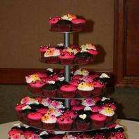 Cakes, white, pink, black, gold, cake
