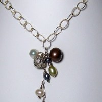 Jewelry, Bridesmaids, Bridesmaids Dresses, Fashion, white, blue, green, silver, Necklaces, Pearls, Necklace, Sterling, Bliss designs