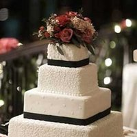 Cakes, white, black, cake, Square Wedding Cakes, Square