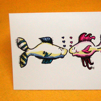 Stationery, pink, blue, Invitations, Custom, Bride and groom, Fish, Insert, Beemine designs, Sole mates