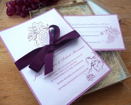 Flowers & Decor, Stationery, purple, green, brown, Vineyard, Vineyard Wedding Invitations, Invitations, Grape, Wine, Napa, Emtsweeetieweddings