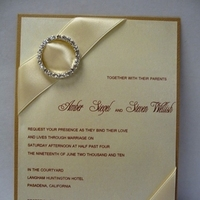 Stationery, white, ivory, brown, silver, gold, Invitations, Champagne, Elegant, Rhinestone, Buckle, Emtsweeetieweddings
