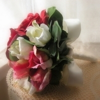Ceremony, Flowers & Decor, Bridesmaids, Bridesmaids Dresses, Fashion, white, pink, red, Ceremony Flowers, Bride Bouquets, Bridesmaid Bouquets, Bride, Flowers, Bouquet, Bridal, Silk, With this rose, Flower Wedding Dresses, Silk Wedding Dresses