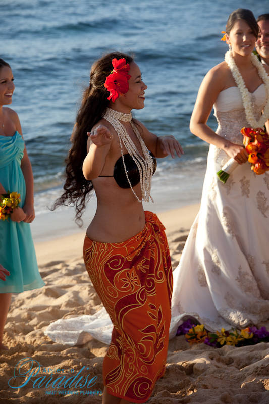 Ceremony, Flowers & Decor, yellow, Hawaiian, Dancer, Aisles in paradise, Hawaiian dancer