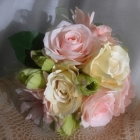 Ceremony, Flowers & Decor, Bridesmaids, Bridesmaids Dresses, Fashion, white, yellow, pink, green, Ceremony Flowers, Bride Bouquets, Bridesmaid Bouquets, Bride, Flowers, Bouquet, Bridal, Silk, With this rose, Flower Wedding Dresses, Silk Wedding Dresses