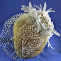 Beauty, Jewelry, Veils, Fashion, white, silver, Bride, Veil, Hair, Bridal, Cage, Floral, Headpiece, Fascinator, Damselfly studio, Frenchveil