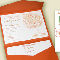 Reception, Flowers & Decor, Stationery, orange, invitation, Fall, Garden Wedding Invitations, Invitations, Wedding, Tree, Pocketfold, Savethedate, Thankyou, Thinking paper
