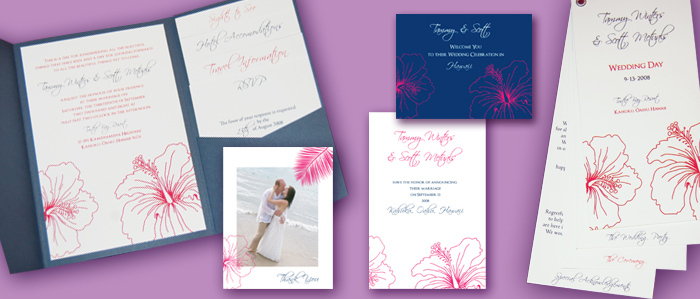 Flowers & Decor, Stationery, Destinations, pink, blue, invitation, Hawaii, Beach Wedding Invitations, Invitations, Flower, Wedding, Pocketfold, Thinking paper