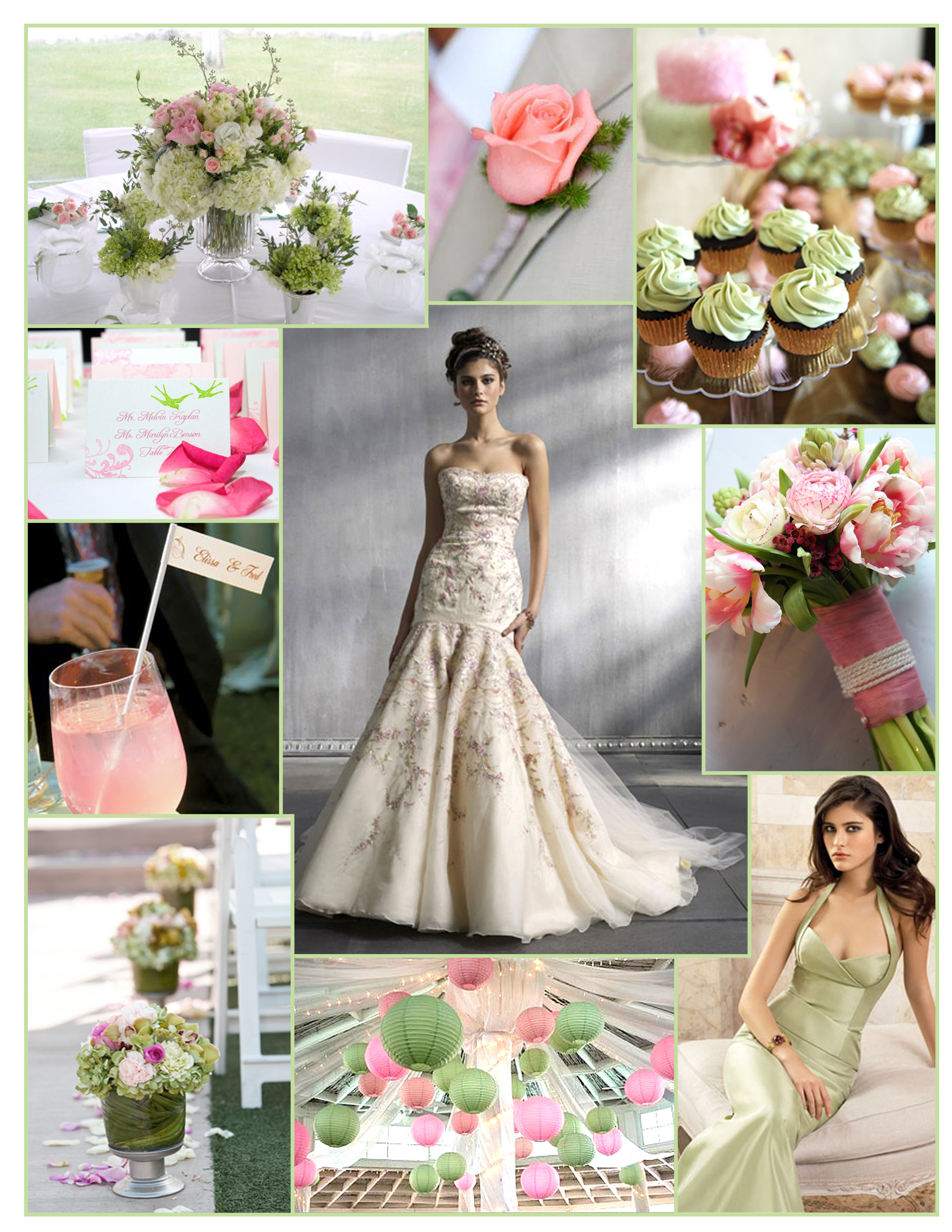 Inspiration, Reception, Flowers & Decor, Bridesmaids, Bridesmaids Dresses, Wedding Dresses, Cakes, Fashion, pink, green, cake, dress, Bridesmaid Bouquets, Flowers, Board, Lazaro, Paper lanterns, Cupakes, Flower Wedding Dresses