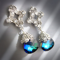Jewelry, Bridesmaids, Bridesmaids Dresses, Romantic Wedding Dresses, Fashion, blue, green, silver, Earrings, Romantic, Teal, Swarovski, Aqua, Chandelier, Peacock, Crystals, Dangle, Post, Bermuda, Ts studio jewelry