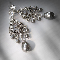 Jewelry, Bridesmaids, Bridesmaids Dresses, Romantic Wedding Dresses, Vintage Wedding Dresses, Fashion, white, ivory, gray, black, silver, Earrings, Vintage, Bride, Romantic, Grey, Bridesmaid, Bridal, Long, Pearls, Elegant, Theme, Couture, Weddings, Cream, Swarovski, Chandelier, Dark, Pearl, Haute, Crystals, Rhinestones, Dangle