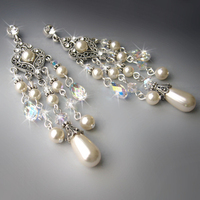 Jewelry, Bridesmaids, Bridesmaids Dresses, Romantic Wedding Dresses, Vintage Wedding Dresses, Fashion, white, ivory, silver, Earrings, Brooches, Vintage, Bride, Romantic, Bridal, Long, Elegant, Theme, Crystal, Couture, Weddings, Cream, Swarovski, Brooch, Pearl, Dangling, Haute, Crystals, Rhinestones, Dangle, Ts studio jewelry, Dangly