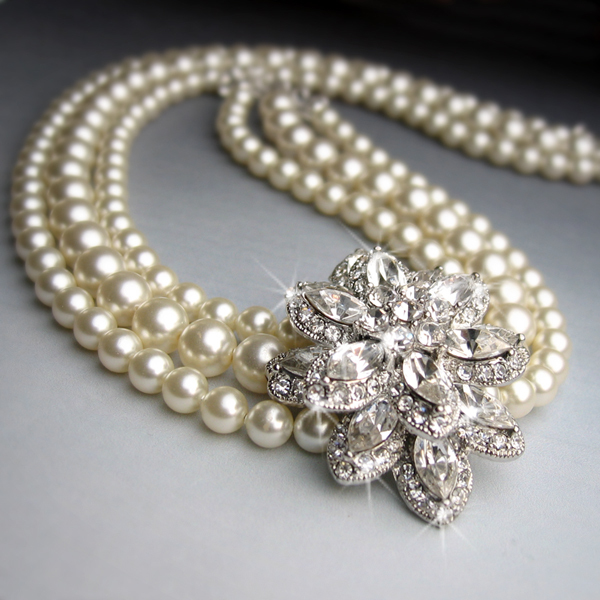 Flowers & Decor, Jewelry, white, ivory, silver, Necklaces, Brooches, Vintage, Bride, Flower, Romantic, Bridal, Elegant, Theme, Crystal, Necklace, Couture, Weddings, Cream, Swarovski, Brooch, Set, Rhinestone, Pearl, Haute, Crystals, Rhinestones, Off, Multi, Strand, Offset