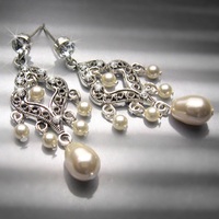 Jewelry, Bridesmaids, Bridesmaids Dresses, Romantic Wedding Dresses, Vintage Wedding Dresses, Fashion, white, ivory, silver, Earrings, Vintage, Bride, Romantic, Bridesmaid, Bridal, Long, Pearls, Elegant, Theme, Couture, Weddings, Cream, Swarovski, Chandelier, Pearl, Dangling, Haute, Crystals, Rhinestones, Dangle, Ts studio jewelry