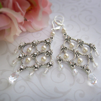 Jewelry, Bridesmaids, Bridesmaids Dresses, Romantic Wedding Dresses, Fashion, white, ivory, silver, Earrings, Bride, Romantic, Bridesmaid, Bridal, Long, Pearls, Elegant, Couture, Weddings, Cream, Swarovski, Flowergirl, Chandelier, Pearl, Dangling, Haute, Crystals, Rhinestones, Dangle, Ts studio jewelry, Dangly